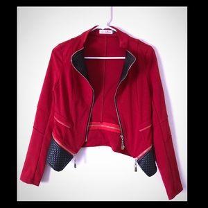 Jackets & Blazers - Red with leather collar zipper blazer